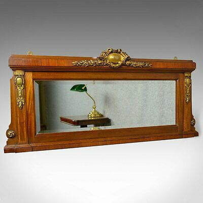 Antique Overmantel Mirror, French, Empire Revival, Wall, Walnut, Ormolu, c.1900