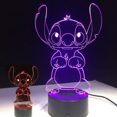 New 3D Cartoon Stitch Night Light 7 Color Change LED Desk Lamp Touch Decor Gift