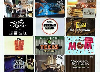 Collectible Gift Card -YOU CHOOSE 3 for $1.59 - Guitar Center, McCormick, Dunkin