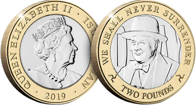 Isle of Man - 2019- D-Day Commemorative £2 Coin - Churchill