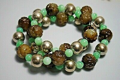 Vintage Chinese Carved Hardstone  Peking Glass Sterling Silver Bead Necklace