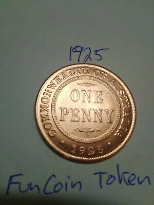 Australia 1925 one penny token fun coin uncirculated look space filler key date