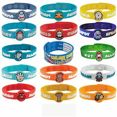 New Health Alert Allergy Medical Wristbands Kids Bracelet Id Child Characters