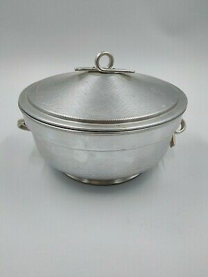 Brushed & Hammiered Vintage Aluminum Serving Covered Dish - Made In Italy IC-2