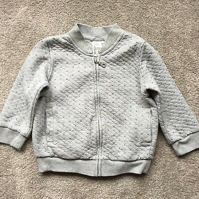 Uniqlo Unisex Light Grey Quilted Bomber Jacket with 2 pockets Size 100