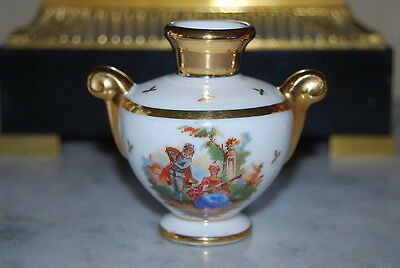 Wonderful Limoges Castels Romantic Scene Miniature Porcelain Gilded Cabinet Vase