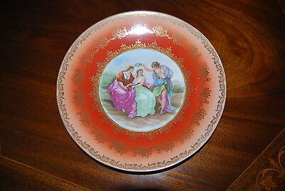 Superb Large Wall Cabinet Plate With A Neoclassical Kaufmann Scene & Gold Decor