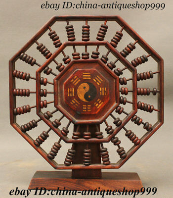 Old Chinese Huang Huali Wood Feng shui Taiji Gossip Abacus Counting Frame Statue