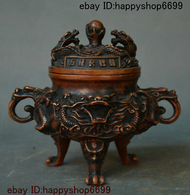 Old Chinese Bronze Fengshui Dragon Loong Beast Head Incense Burner Censer Statue