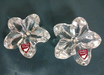 Pair of Orrefors Flower Petal Clear Crystal Glass Taper Candle Holders Sweden