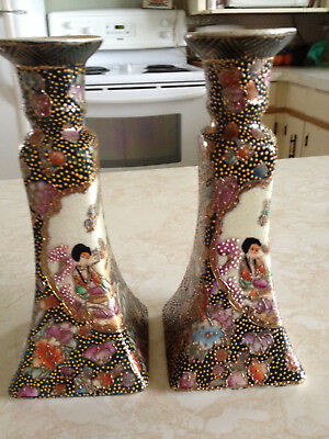 Antique Chinese Porcelain  Candle Stick Holders