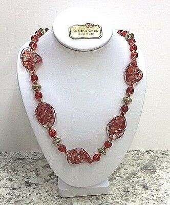 Murano Glass 25inch Long Necklace.hand blown glass from Italy