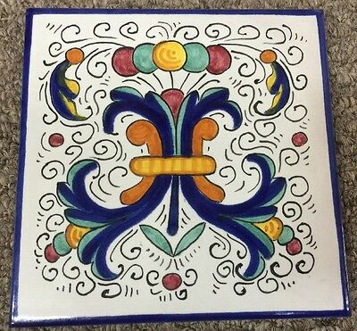 Deruta Pottery-6x6 Inch Tile Ricco-Made/painted by hand In Italy.