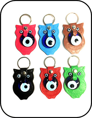 Turkish Leather Evil Eye Owl Key Chain for Protection and Good Luck #1005