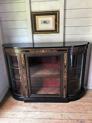 Antique Victorian Ebonised Inlaid Credenza Sideboard Display Cabinet (Del Extra)