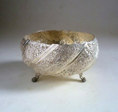 Islamic Solid SILVER Chased Pierced BOWL. 356g Birds & Foliage 84 Marked