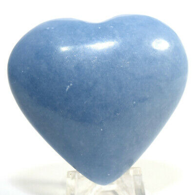 """2.2"""" Peruvian Blue Angelite Puffy Heart Natural Sparkling Angelic Crystal Stone"""