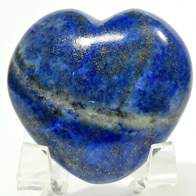 47mm Lapis Lazuli Heart w/ Pyrite Natural Crystal Sparkling Stone - Afghanistan