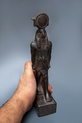 EGYPTIAN ANTIQUES Ancient EGYPT HORUS FALCON Lord STATUE Gods Black Stone, BC