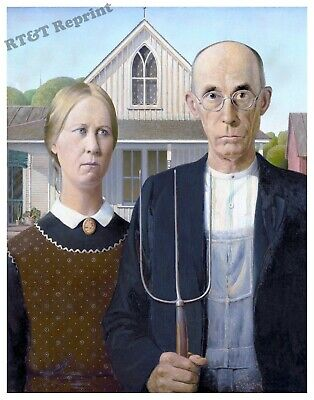 Wall Art Grant Wood's 1930 The American Gothic Painting Year  8x10