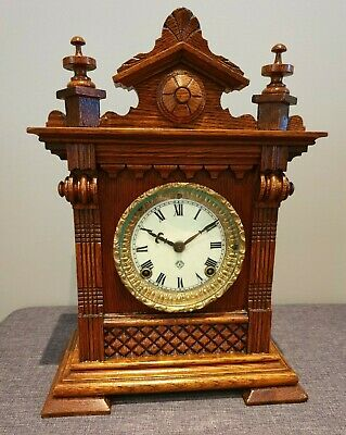 Antique 19th Century Ansonia Salem Oak Architectural Cased Mantel Clock (8 Day)