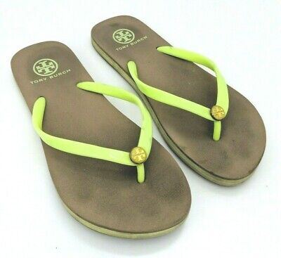 d8367a8ad2ee TORY BURCH Size 8 Lime Green   Beige Flip Flop Sandals Rubber Gold Logo