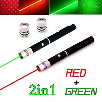 2PCS Powerful GREEN+RED Laser Pointer Pen 10Miles 2In1 Visible Beam Pet Toy