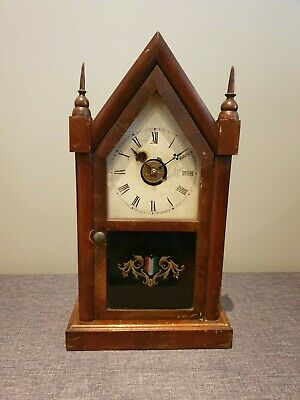 Antique 19th Century Waterbury Clock Co. Mahogany Steeple Clock (Mantel Clock)