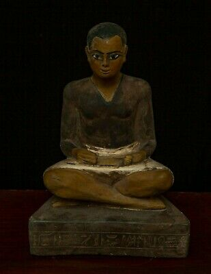 RARE ANCIENT EGYPTIAN STATUE Egypt Antiquities Seated Squatting, Scribe Stone-BC