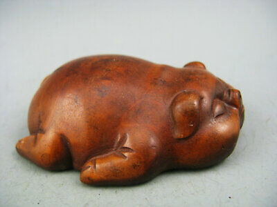 Antique Chinese Old Boxwood Hand-Carved Seas Animal Rare Netsuke Statue