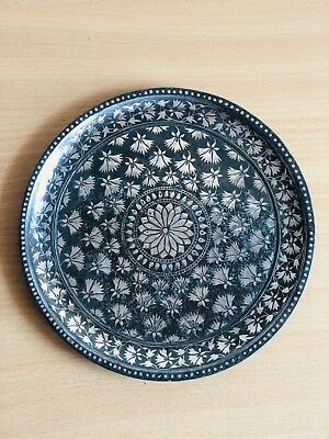 Real Mughal 18th C. used Bidri  silver inlay Tray  from south India. Hardtofind