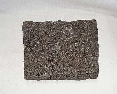 Old Vintage Hand Carved Unique Wooden Mughal Flower Printing Textile Block