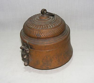 Old Antique Original Hammered Embossed Copper Box Sweet / Chappati Collectible