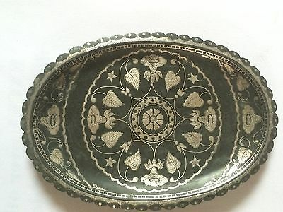 Antique 19th C used l   OVAL Bidari  silver inlay Tray  from south India