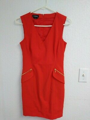 Bebe Women's Tailored Red/Coral Zippered Dress Size 2