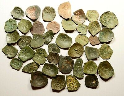 Lot Of 40 Ancient Byzantine Cup Coins - 22 - Small Core