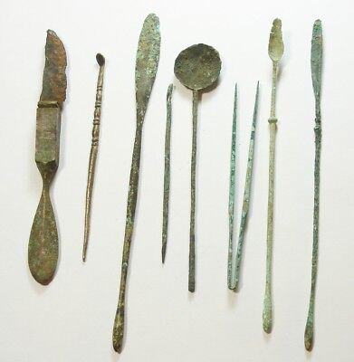 Collection of 8 Ancient Roman Bronze & AR Medical/Surgical Tools - 2nd-4th C AD