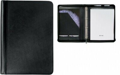 A4 Ring Binder Leather Zipped Conference Folder Portfolio Case Business Document