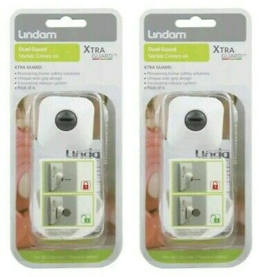 X 2 Packs Of 4 Lindam Dual Guard Socket Covers Plug Wall Safety Baby Proof Child