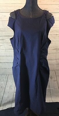 7cf10d89d2 Ashley Stewart Blue Cold Shoulder Front Ruched Sleeveless Dress NWT Size 22