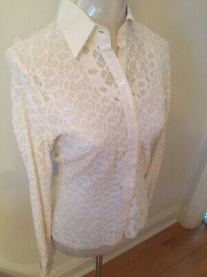 e70aa56c898bf ANNE FONTAINE LACE White Blouse Sz 40 US Long Sleeves -  24.00 ...