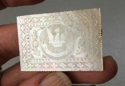 Antique Chinese Armorial MOP Mother of Pearl Gaming Chip Counter, Earl Spencer