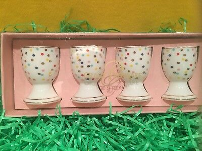Grace's Teaware Easter Egg Cups Pastel Polka Dot Gold Trim Set of 4 Porcelain