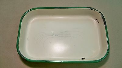 Antique Vintage Rectangle Cream Color With Green Trim Enamel Cake Pan Roaster