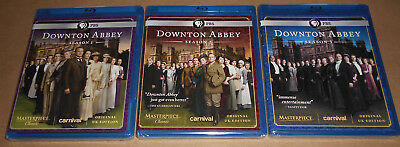 AUTHENTIC Downton Abbey Blu-Ray Seasons 1 2 3 One Two Three New Masterpiece PBS