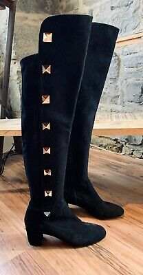 76cd9f68629 Valentino Black Suede Studded Over-the-Knee Boots - SIZE 40.5 IT - 10.5