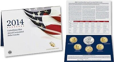 2014 US Mint Annual Uncirculated Dollar 6 Coin Set ASE Presidents Sacagawea $1