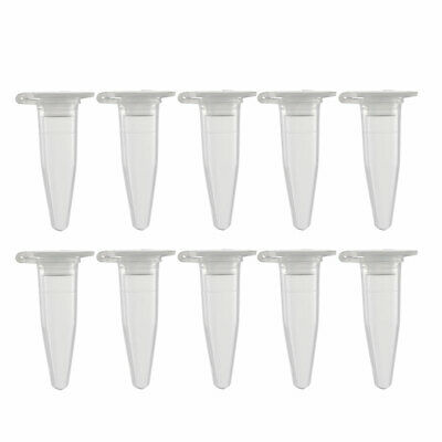 50 Pcs 0.2ml Plastic Centrifuge Tubes with Attached Cap Conical Bottom