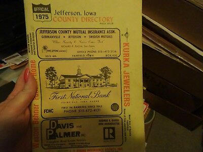 1975 Jefferson County Iowa Official Farm Plat Book And Farm Directory