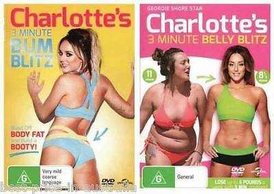 CHARLOTTE'S 3 Minute BUM+BELLY Blitz 2-DVDs HEALTH WEIGHT LOSS FIT BRAND NEW R4